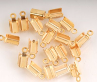20 x Gold Plated Medium Folding Cord Ends (Crimp Ends) 3mm x 5mm